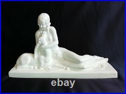 Charles Lemanceau Céramique blanche craquelée Femme & antilope Art déco