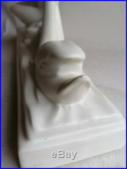 Charles Lemanceau Leda Et Le Cygne Statue Sculpture Art Déco Céramique Craquelé