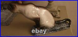 Chat art deco en ceramique louis richi