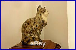 Chat assis en céramique XXème yeux en sulfure