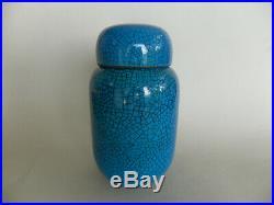 Claude Morini pot couvert en céramique bleu craquelé art déco vintage