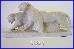 Craquelé céramique 2 lionnes en marche Art Déco vers 1925 1930 XX 20th