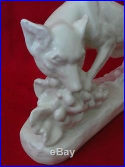 Craquelé céramique émaillée art déco 1930 signée G. GILLOT faïence Renard odyv
