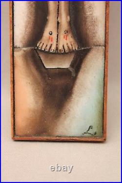 Crucifix christ en croix en céramique époque art déco XX siècle