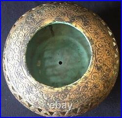 Cul de lampe céramique ajourée Biên Hoà Vietnam début XXe Dorure Doreur art déco