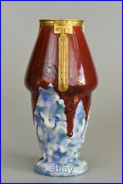 DArgyl Vase conique Art Déco Céramique et laiton France, vers 1928
