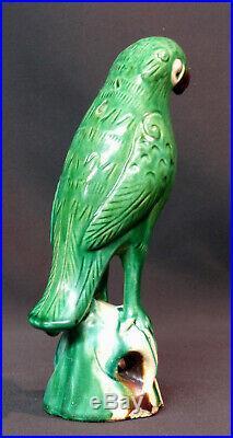 D art chine beau perroquet vert ancien grès vernissé céramique 23c520g déco
