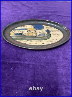 Desmant Tapisserie Bayeux Decor Normand Plateau Ceramique Irisee Signé Art Deco