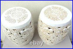 Deux Tabourets Sellettes Bouts De Canapé En Ceramique Emaillee Art Decoratif