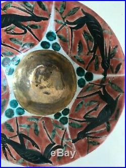 Edouard Cazaux Art Deco Céramique Coupe Bol aux Antilopes TRES RARE