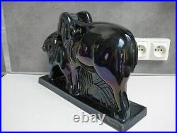 Elephant Ceramique Emaillee Noire Saint Clement Lemanceau Art Deco 1930