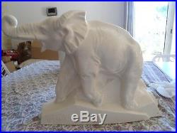 Elephant dolly céramique craquelée blanc 1930