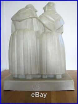 Emile Bachelet 2 Auvergnates Grès de Mougin Nancy Art Deco 36cm Auvergne