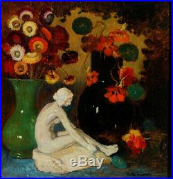 Emile Lecomte, 1927, Fleurs et Céramique Art-Déco Bénézit, Grosse Cote