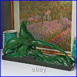 Faisans Céramique de Sainte Radegonde Estampillé 61 cm Art Déco TBE XXe