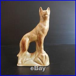 Figurine statue chien loup céramique faïence art déco design XXe BRAZIL N4204