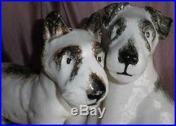 Fox terriers céramique ART DECO important groupe 2 chiens années 30 Superbe
