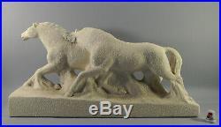 GRANDE STATUETTE céramique ODYV, signée, chevaux, Art Déco, 51 cm
