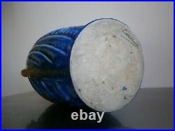 GRAND VASE BLEU ART DECO G. METENIER GRES EMAILLE CERAMIQUE 1930 2,6kg
