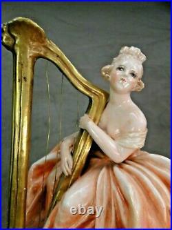 GUIDO CACCIAPUOTI BELLE STATUE EN CERAMIQUE LA HARPISTE ART DECO Ca. 1920