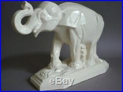 G Beauvais Edition Kaza Elephant Ceramique Craquele Art Déco 1930