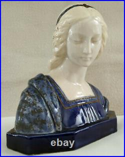 Giuseppe Gambogi (1862-1938) rare buste en céramique inspirée d'une Piéta