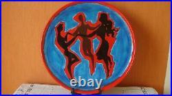 Grand Plat Art Deco Style Lurca Ceramique De Perpignan Signe S Kamte