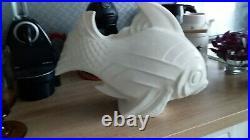 Grand Poisson En Ceramique Craquelee Art Deco Signe Le Jan