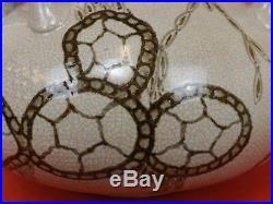 Grand Vase Art Déco Céramique Blanc Craquelé & Décor Fond Marin. Marque s/émail