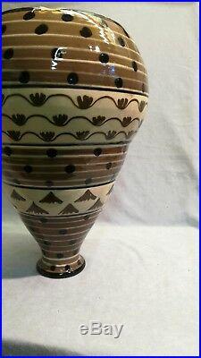 Grand Vase Art Déco Céramique, Rare Forme Ovoïde En Escalier Fin Xixème