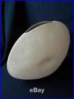 Grand Vase En Ceramique Contemporaine Inspiration Corail Blanc 34cm X 40cm