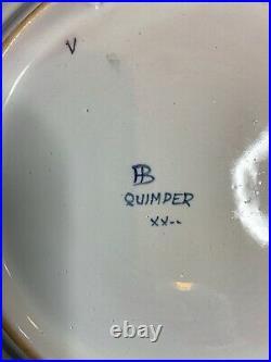 Grand plat Octogonal HB QUIMPER Henriot, céramique ancienne Art Deco