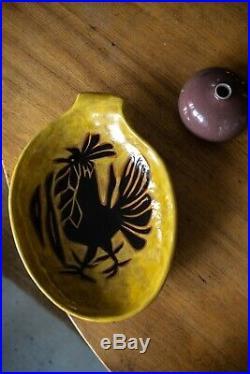 Grand plat céramique de Jean Lurçat Motif coq Sant-Vincens