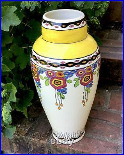 Grand vase CHARLES CATTEAU Tango Art Déco Boch frères Keramis céramique vintage