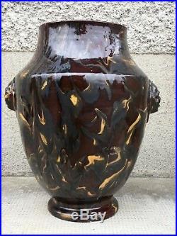 Grand vase a decor de magot PAUL BONIFAS Ceramique art deco poterie fernay