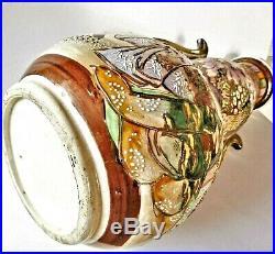 Grand vase ancien en céramique de Satzuma, Japon, décor à l'émail et or fin