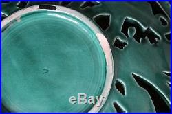 Grande Coupe Céramique Décor Eléphants Art Déco Bel émail Vert D 34 cm