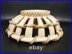 Grande Coupe Céramique Tresse Art Deco Blanc Et Or Sainte Radegonde Gustave Asch