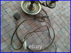 Grande Lampe bouillotte Empire abat jour en tôle peinte anciennne H. 60 cm