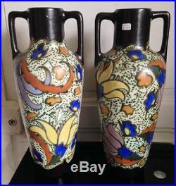 Grande Paire vases Céramique Art déco Bergen C. M style Gouda 38cm