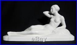 Grande Sculpture SARREGUEMINES Céramique Femme Nu Art Déco Statue c1925