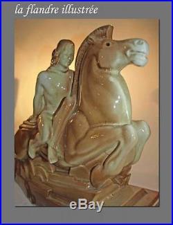 Grande céramique craquelé art déco lemanceau femme au cheval