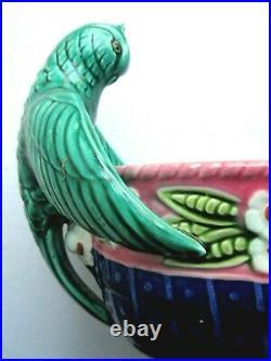 Grande jardinière Art Nouveau ou Déco en céramique signée ORCHIES Les perruches