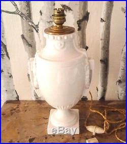 Grande lampe de forme vase en céramique blanche d'époque 1930 environ