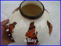 Gros Vase Boule Art Deco Ceramique Craquelee Emaux Boch Freres Keramis 1930