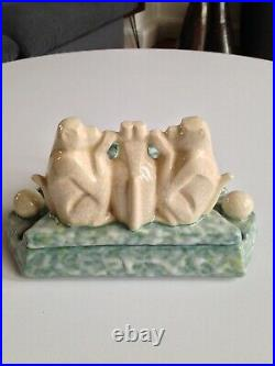 Gros encrier Ceramique Faience Craquelé Cachet D'Argyl Art deco Singes