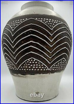 Gros vase art deco céramique émaillée non signé dlg de Jean Besnard
