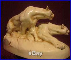Groupe Ceramique Pantheres A L Affut Royal Dux Art Deco 1930 No Copy Craquele