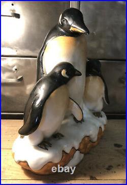 Groupe Trio De Pingouins Céramique Craquelée Art Déco L&V Céram H 28 Cm