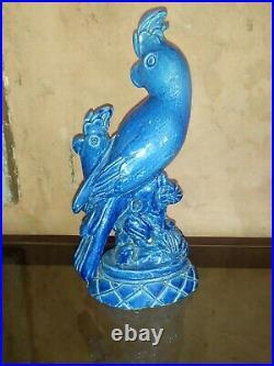 Groupe cacatoes perroquet ceramique bleu signe Marjolaine Luc Lanel Art Déco